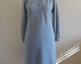 Vintage 1980s Heather GrayJersey Knit Placket Front, Shirt Dress bt Umba for Parnes Feinstein