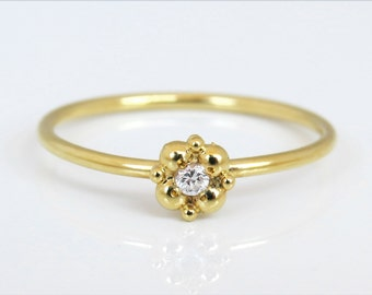 Small diamond engagement ring, delicate engagement ring, 14k solid gold diamond flower ring, flower diamond ring, solitaire ring, gift.
