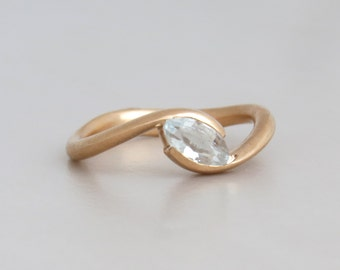 Marquise engagement ring, Topaz engagement ring, rose gold engagement ring, unique engagement ring, 14k solid gold ring with white topaz.