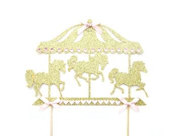 Gold Glitter Carousel Horse Cake Topper - Horse cake topper, Carousel cake topper, Circus cake topper, Carousel horse party