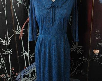 SALE - 1960s Blue Print Dress - Medium