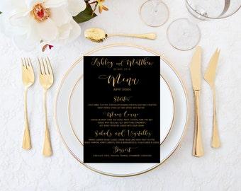 Printable wedding menu, Wedding menu, Black and gold wedding menu, Custom wedding menu, Gold wedding menu, Reception menu, Elegant menu