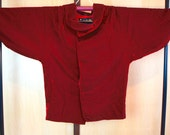 Japanese red velvet jacket, Haori red brocade, Vintage kimono jacket, dark red happi jacket, buttoned jacket red velvet, Japanese jacket