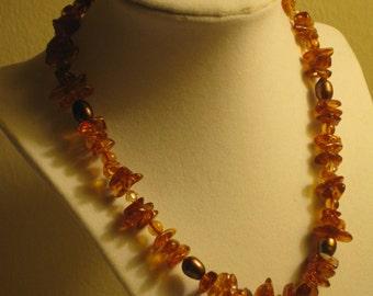 Baltic Amber, Pearls, Swarovski OOAK Necklace