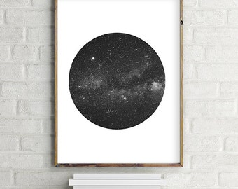 """Space and Stars """"Porthole"""" Wall Art Digital Download. Modern Contemporary Wall Art (various sizes) Gallery Wall Print"""
