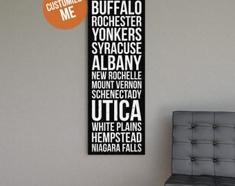 NEW YORK Subway Style Wall Art - Gallery Wrapped Canvas Print. New York,Buffalo,Rochester,Yonkers,Syracuse,Albany,New Rochelle,Mount Vernon