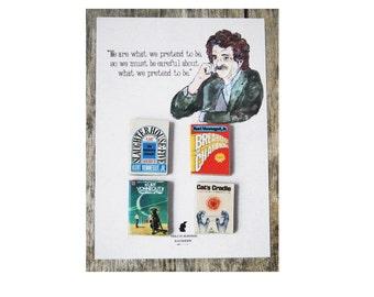 Kurt Vonnegut's miniature book magnets set