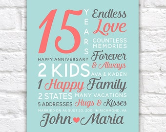 Personalized Anniversary Gifts, Wedding Date, Canvas Art, 15th Year Anniversary, 15th Anniversary, 25 years, Anniversary Mens | WF248