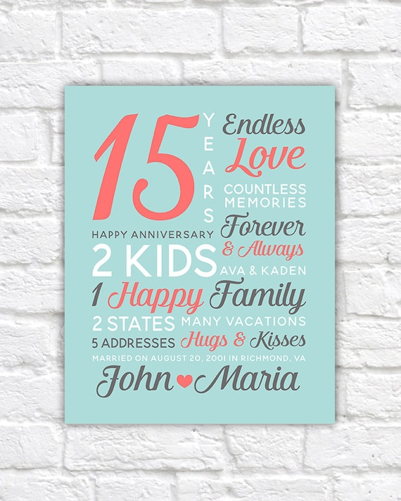 Personalized Anniversary Gifts Wedding Date Canvas Art 15th
