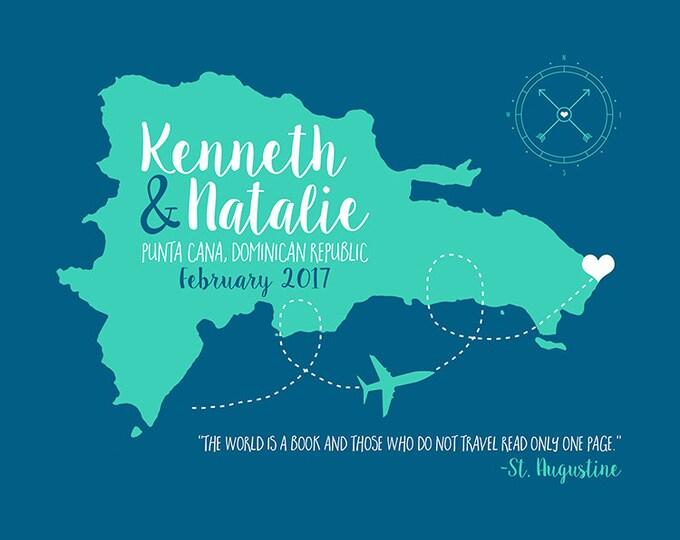 Featured listing image: Punta Cana, Dominican Republic Map Wedding Gift, Custom Wedding, Honeymoon Engagement, Anniversary Gift, Love Map, Beach Wedding | WF230