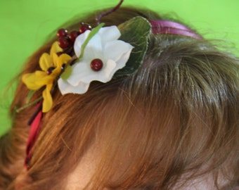"Double row stretch silk headband with fall foliage in cranberry/burgundy tones ""Leah"""