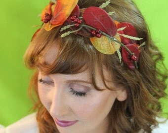 Fall Leaf and Berry Headband with Ribbon, Phoebe