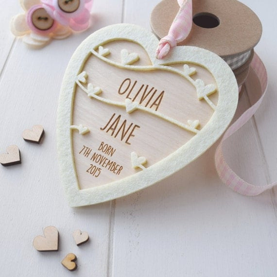 Personalised New Baby Girl Keepsake gift - Baby gift - New born gift - keepsake heart