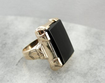 Handsome Men's Black Onyx Ring in Vintage Mounting  Q234HV-R