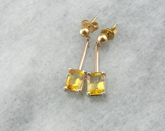 Mixed Metal Citrine Drop Earrings 15H7NH-P