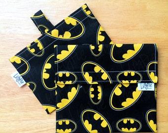 Batman Reusable Sandwich Bag & Reusable Snack Bag Set - Velcro - ECOfriendly - Food Safe - Dishwasher Safe - Back to School