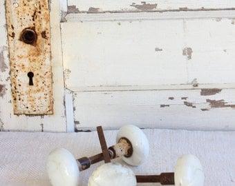 Antique White Porcelain Door Knob Set of 3