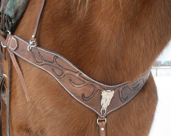 Horse breast collar with elk, deer skull and antler design, leather horse tack, western dyed brown