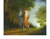"Art Print of Original Animal Painting: ""The Morning Walk"""