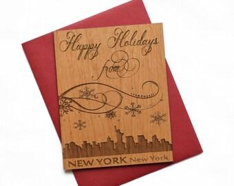 New York City Holiday Cards - Christmas Card with New York City Skyline - Mini Card
