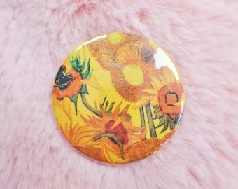 Sunflowers Van Gogh Fine Art Classical Pin Badge