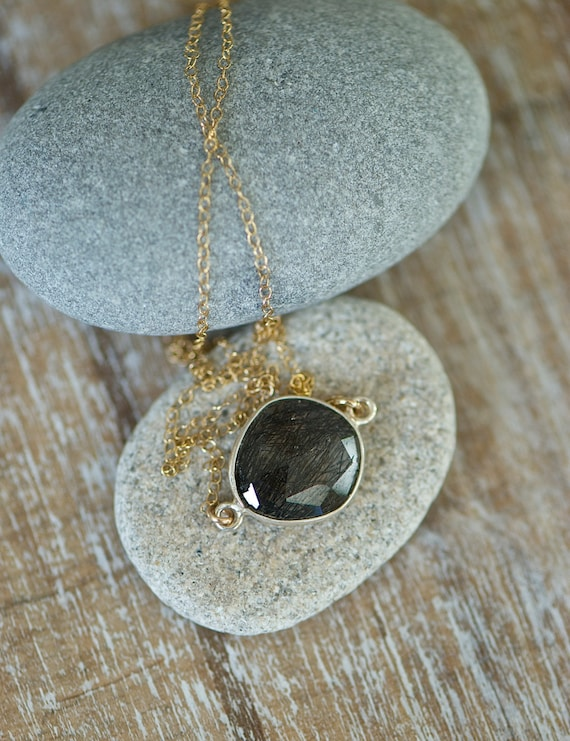 Black rutilated quartz pendant necklace gold necklace for Golden rutilated quartz jewelry