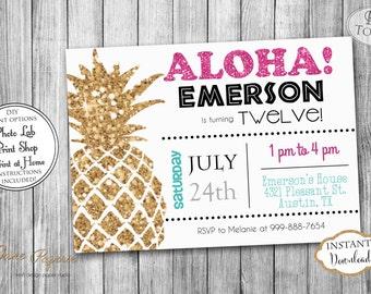 INSTANT DOWNLOAD - Gold Glitter Pineapple Birthday Invitation - Luau Birthday Invitation - Hawaiian Summer Pool Splash Party Invitation