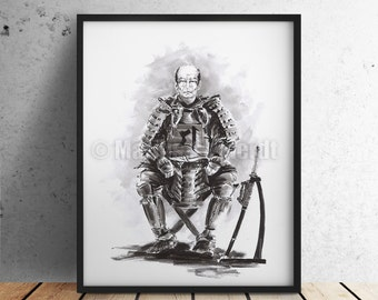 Samurai Shogun Poster. Japanese Warrior Painting. Katana sword. Bonji calligraphy. War Master. Wall Decor Art. Ink Art.