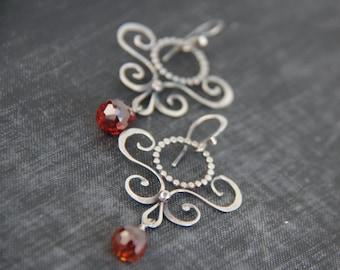 Sterling silver and Cognac Cubic zirconia chandelier earrings, elegant scroll earrings,dangle earrings, special occasion, bridal, artisan