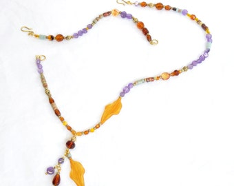 Autumn Amethyst 2 in 1 Versatile Jewelry Set Matching Necklace Bracelet and Earrings