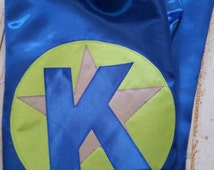 Boy or girl STAR cape: Superhero cape with custom initial and star in your choice of 17 vibrant satin colors, hero cape, super heroes