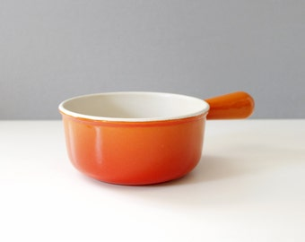 Vintage Le Creuset Sauce Pan Pot Orange Flame Enamel Cast Iron France