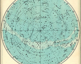 Aqua Northern Constellations Star Chart Print -  SIX SIZE CHOICES