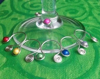 wine glass charms in rainbow colours . made in ireland.