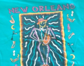 90s New Orleans Jazz City of Rhythm Vintage T Shirt XL