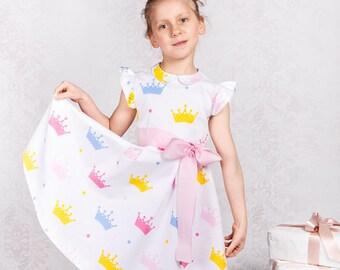 Girl dress Spring girl dress Flower girls dress Summer girl dress Easter girl dress Print cotton dress Ivory gril dress Cotton girl dress