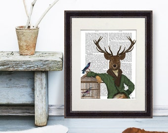 Deer portrait - Deer & Bamboo Cage Portrait, Cabin print modern country décor Country house wall art woodland animal Whimsical Animal art