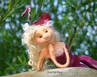 quirky little felted fairy,merino wool fairy,felted wool fairy,adorable  fairy,pink purple fairy,fibre felt fairy,  Rama