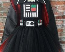 Darth Vader tutu dress (LINED top) Star wars cape. Darth Vader costume. Darth vader cape and mask. Halloween costume black