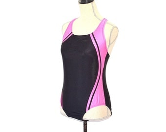 Speedo Swimsuit - Vintage 80s Pink And Black Speedo Bathing Suit - Sporty Athletic Neon Swimsuit - Speedo One Piece Maillot