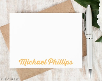 Personalized Notecard Set / Set of Flat Personalized Stationery / Stationary Cards // ROUGH VINTAGE NAME