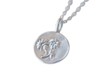 Recycled Silver Daisy Charm Necklace, Spring Nature Jewelry
