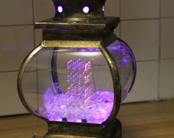 "Steampunk One of a Kind ""Adjustable Color"" LED Cube Lantern"