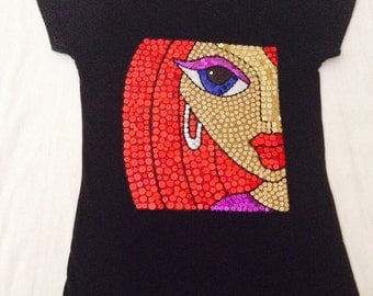 Hand painted and embellished women T-shirts