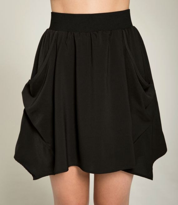 PAPILLON DE NUIT - short skater skirt with pockets, flared skirt, miniskirt, for women - black