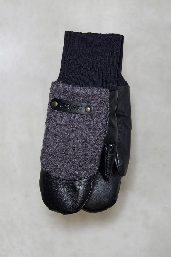 CHALI - leather and wool warm mitten for womens - grey