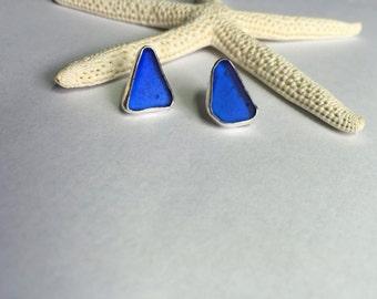 Sea Glass Earrings Studs Bright Cobalt Blue Genuine Sterling Mermaid Tears