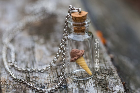 FREE SHIPPING - Chocolate Fudge Ice Cream Necklace - Miniature Food Jewellery - Miniature Dessert - Ice-cream - Jewelry