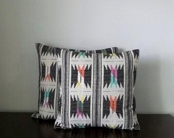 """Decorative Pillows, Black Ikat Embroidered Pillows, Square Pillow Covers, Available in Size 16"""", 18"""" & 20"""" - READY TO SHIP"""