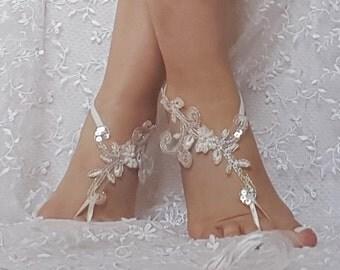 Free shipping  beach shoes Unique design bridal sandal beads sequins barefoot sandals, bangle, wedding anklet, anklet, bridal, wedding